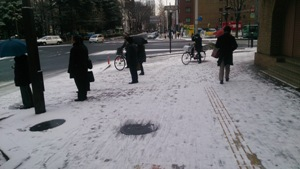 溶けかけの雪が 一番滑ります。