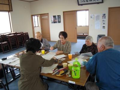 聞き取りは北釜に再建された観音寺の本堂で行いました