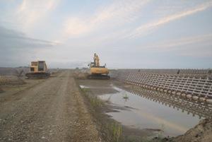 排水対策工事が進んでいる