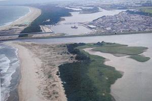 真ん中に流れるのが名取川、写真の左側に太平洋、右上に広がる街が閖上地区
