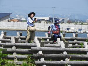 休憩の仕方のお手本。熱中症予防として、防風垣に座るのが一番!
